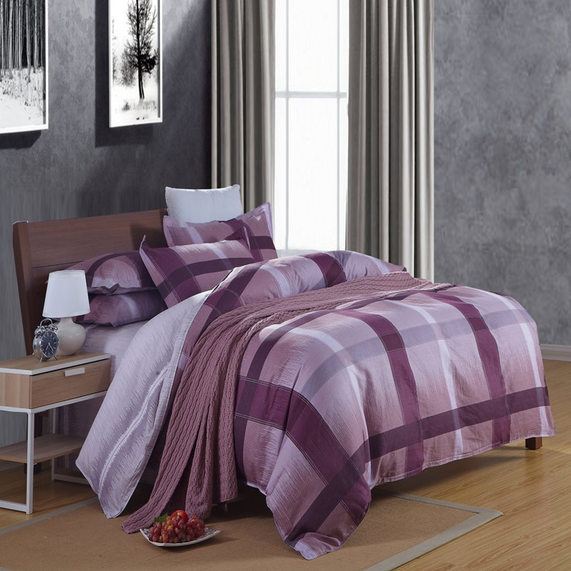 Modern Plaid Purple Blue Comforter Duvet Cover Set 4pcs