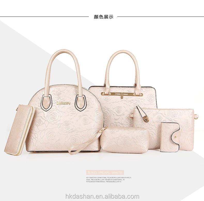 2fccbd7986c0 L305 2017 Latest Design Bright Color Tote Shoulder Clutch Handbag 6 Pieces  Ladies Bag Set Leather