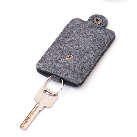 Men Women Woolen Felt Car Key Holder Case Bag Keychain Purse Casecompact