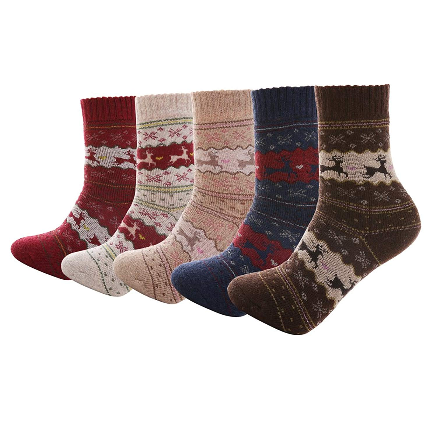 cf5b95c102335 Get Quotations · Aeakey 5 Pairs Women's Crew Socks Thick Knit Wool Cozy  Crew Socks Vintage Style Cute Funny