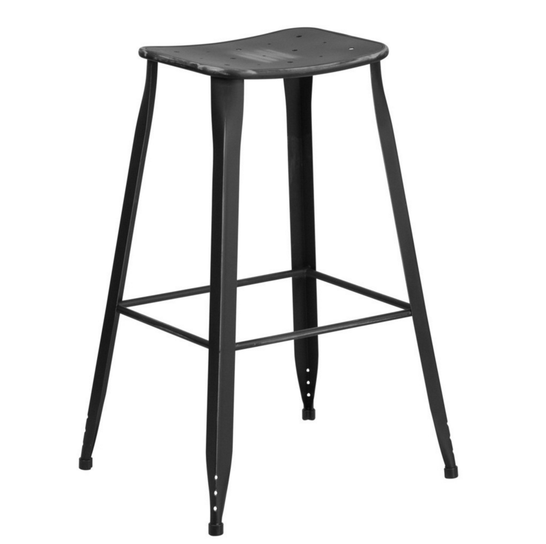 "30"" Distressed Metal Indoor/Outdoor Barstool"