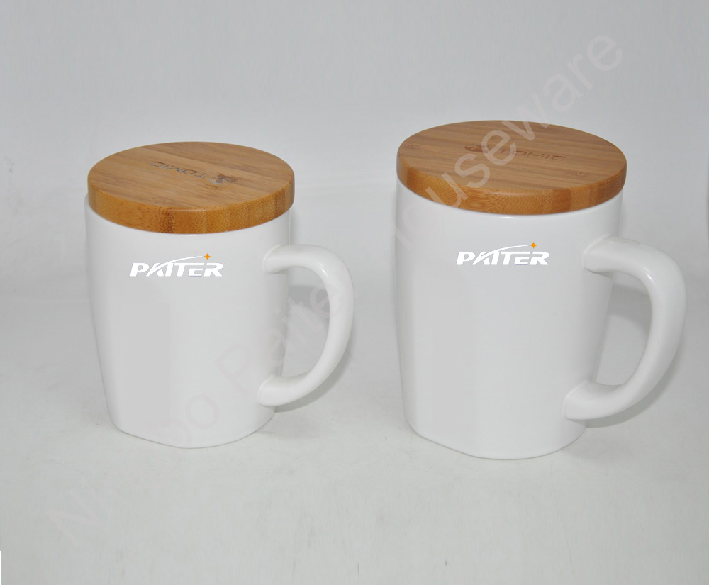 Ceramic Coffee Mug With Bamboo Lid Antique Travel Custom Plain White