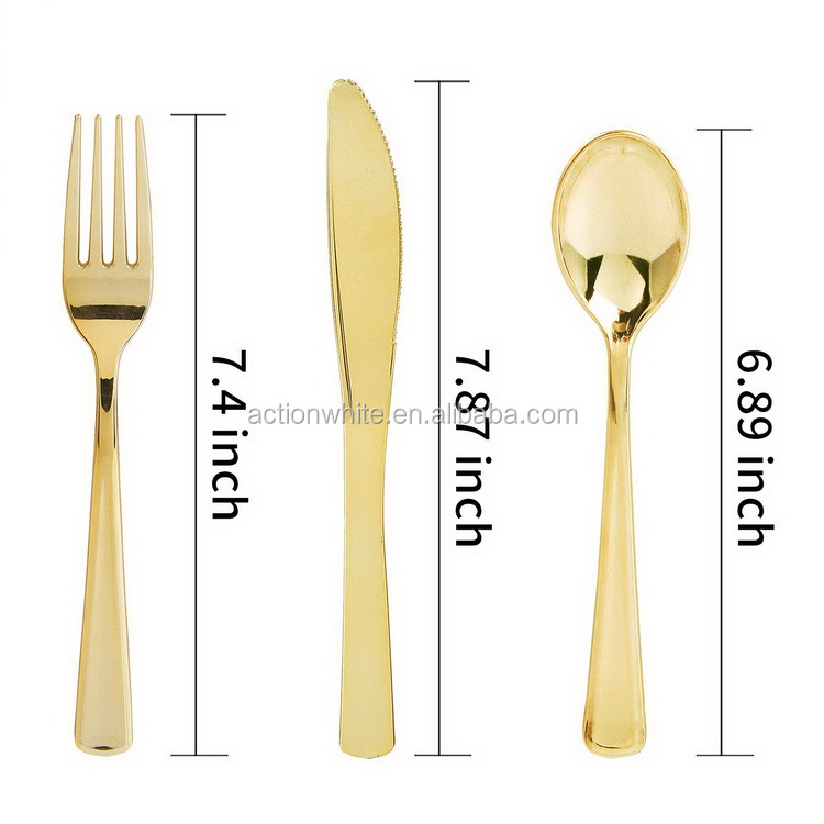 300 Piece Gold Plastic Silverware Set, Heavyweight Gold Cutlery, Disposable Gold Flatware