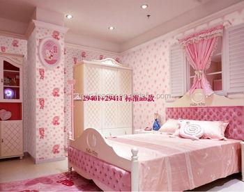 Kinderen cartoon ontwerp roze kleur behang stof wandbekleding voor