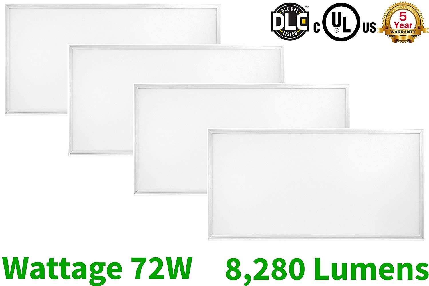 "2x4 Panel Troffer Edge-Lit Flat 5000K (4 PACK) 24"" x 48""; 72W; 8280 Lumens; 120V-277V AC/DC; 0-10V Dimmable; 50,000 Life Hours; CRI>83; 5 YR Warranty; UL/DLC Listed"