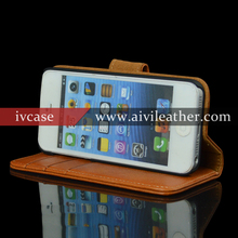 Mobile Phone Accessory Brown Genuine Wallet Leather Case Cover For Iphone 5s With Three Card Holders
