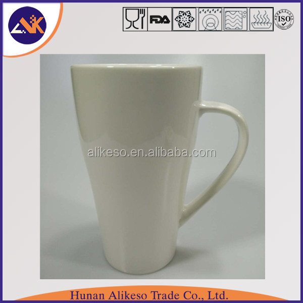 Tall white new bone china ceramic coffee/tea/soup mug with handle wholesale from China manufacturer