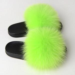 Wholesale custom logo new PVC slipper real soft raccoon fur slipper outdoor slides slipper sandals fox fur slides for women