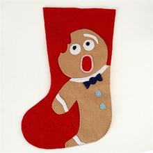 2016 popular style Distressed Gingerbread Man Pattern felt christmas stocking