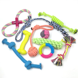 HOT 10 Pack Dog Rope Toys Puppy Chew Teething Toys and Squeaky Dog Toys for Small & Medium Dogs