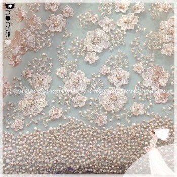 2016 Fancy Baby Pink Heavy Hand Pearls Beaded French Tulle