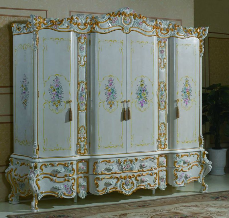Europe classis style furniture-solid wood hand carved bedroom set-Barque style furniture
