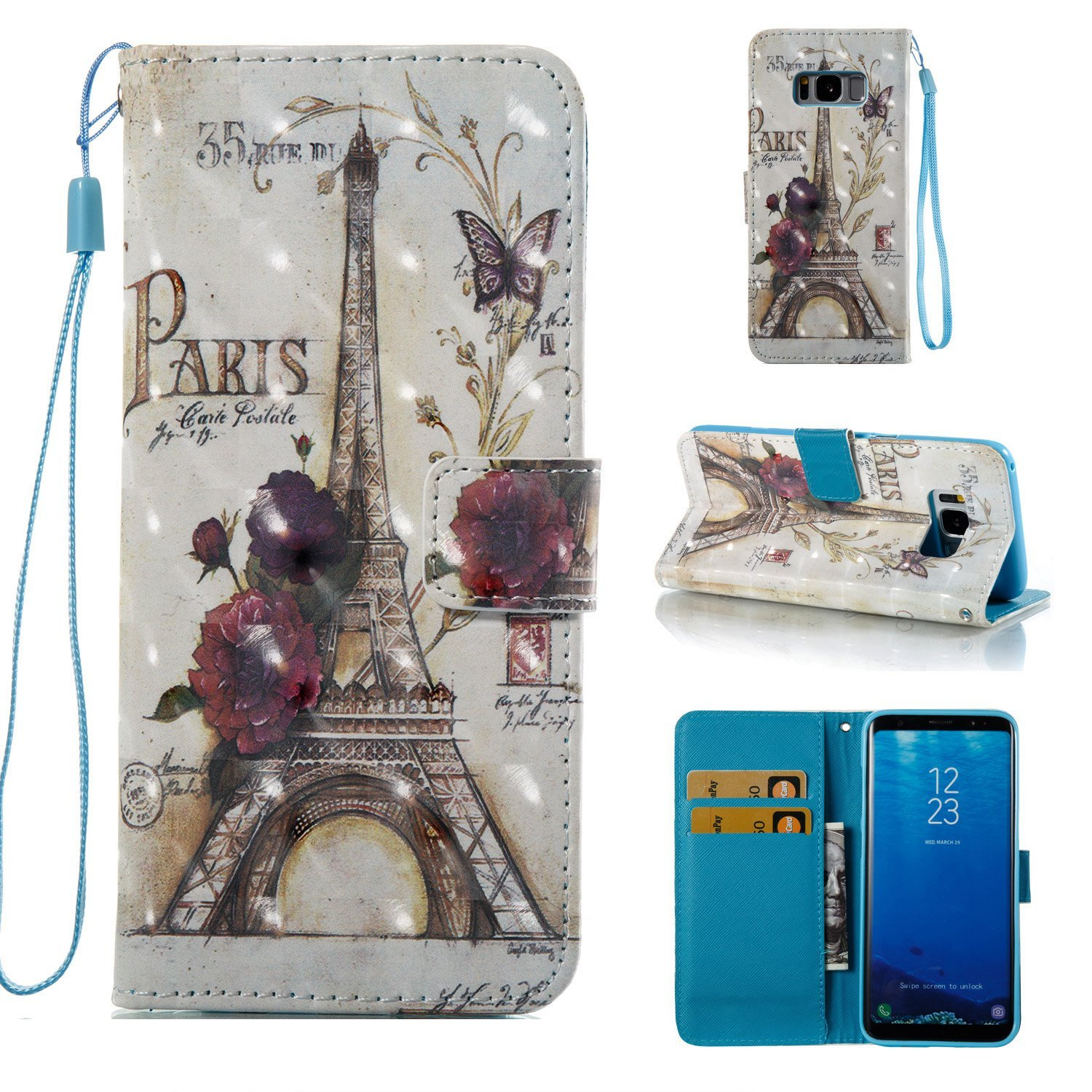 Galaxy S8 Plus Case, Ranyi [3D Painting Wallet] [Bling & Shiny Leather] [Card Slot] [Kickstand Feature] Magnetic Flip Folio Wallet Protective Case for Samsung Galaxy S8+ Plus (2017), tower
