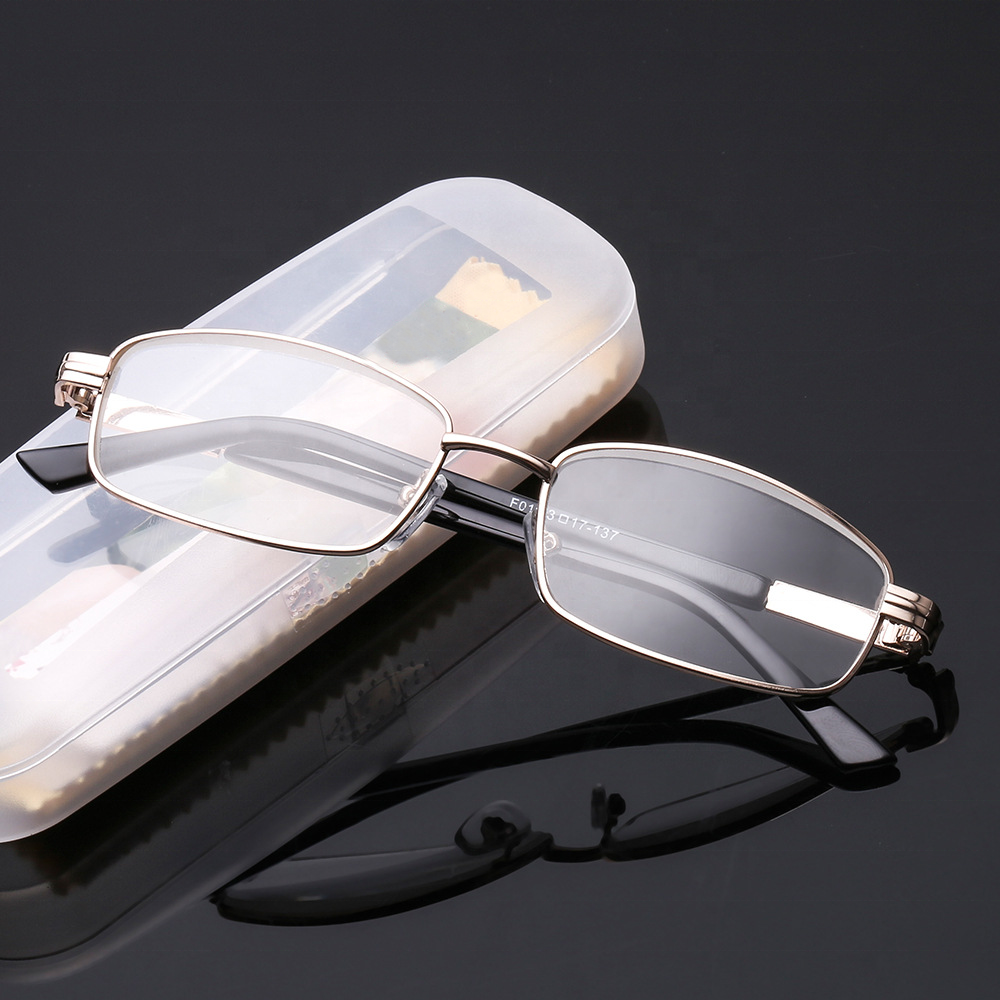 Factory Direct Unisex Glasses New Design Glass Lens Metal Material Full Frame Rectangle Reading Glasses For The Elderly