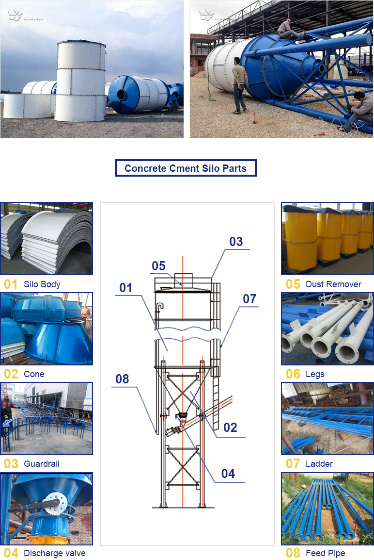 100T Bolted type cement silo and grain silo with dust remover