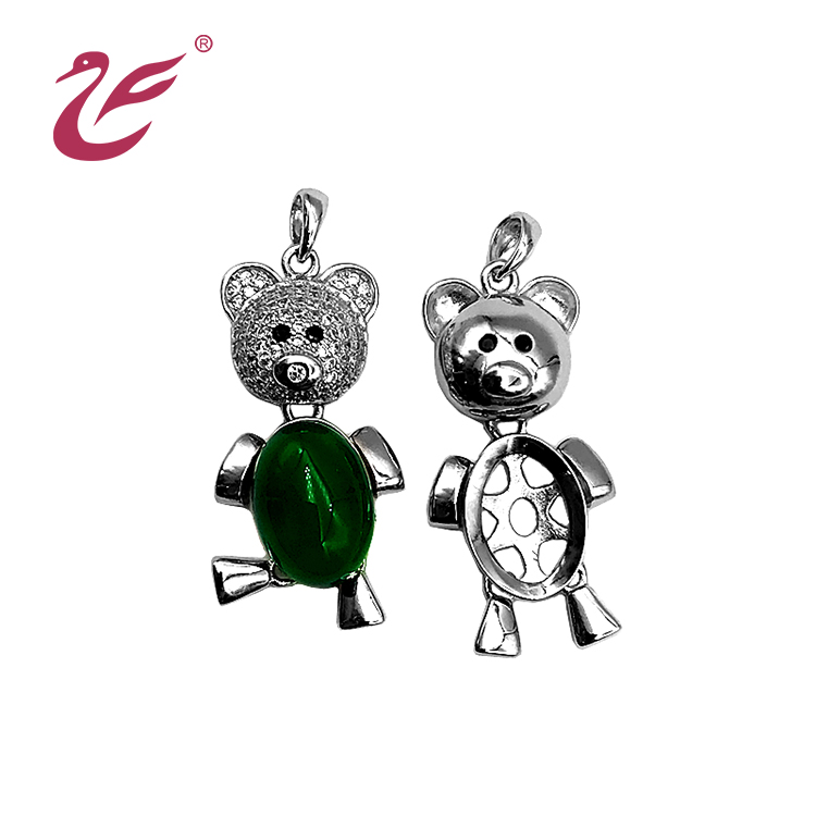 Gift  for children's jewelry 925 sterling silver bear pearl cage pendant