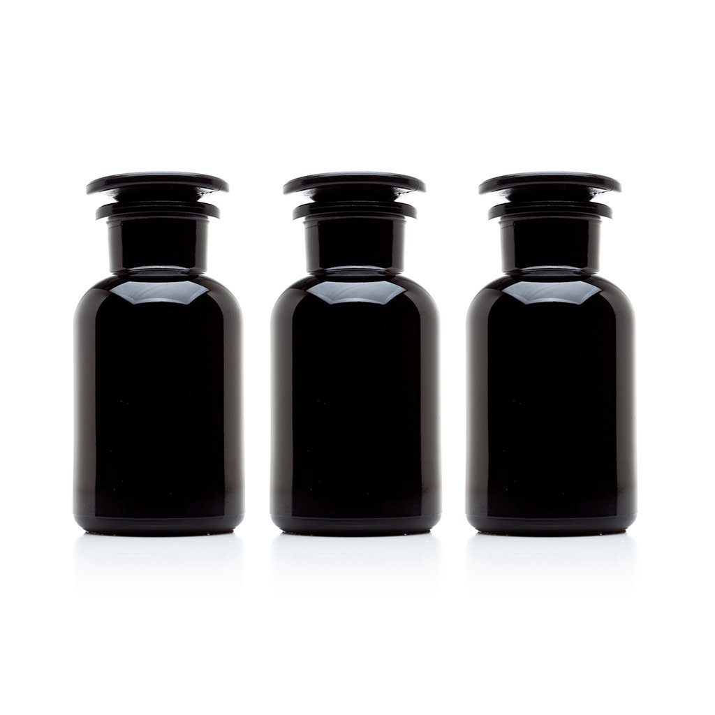 Infinity Jars 250 ml (8.5 fl oz) Black Ultraviolet All Glass Refillable Apothecary Jar 3-Pack