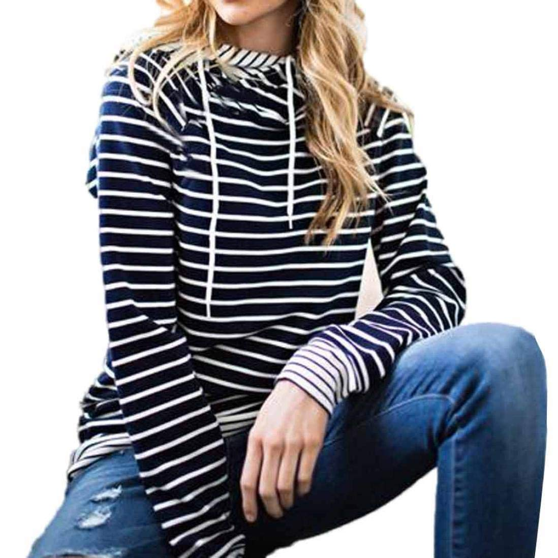 Womens Clearance Long Sleeve Stripe Hoodie Fit Casual Sweatshirt Pullover Tops Blouse Drawstring