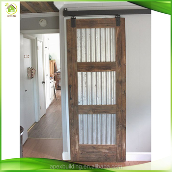 Practical Interior Frosted Glass Insert French Wooden Sliding Barn