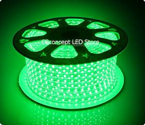 CBConcept 90FT Green 120 Volt High Output LED SMD5050 Flexible Flat LED Strip Rope Light - [Christmas Lighting, Indoor / Outdoor rope lighting, Ceiling Light, kitchen Lighting] [Dimmable] [Ready to use] [7/16 Inch Width X 5/16 Inch Thickness]