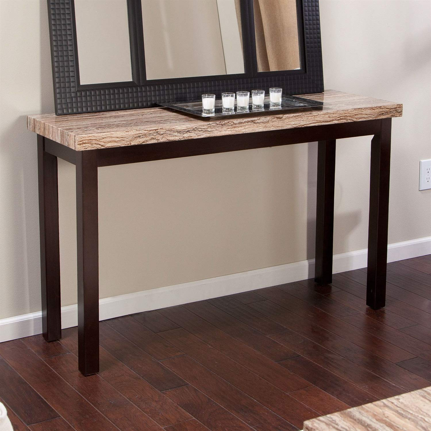 Trustpurchase Solid Wood Frame Console Sofa Table in Espresso with Faux Marble Top, has A Handsome Surface That's A Perfect Complement for Your Leather Sectional, Made from Solid Hardwood
