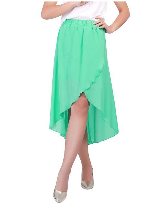 02a4fa71e5d9 Get Quotations · 2015 New fashion summer Plus size 5xl Sexy Asym Hem  Chiffon Skirt Elastic Waist High Low