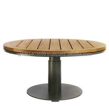 Tavolo Rotondo Per Esterno.Giardino Tavolo Rotondo In Teak Con Base In Ferro Giardino Esterno