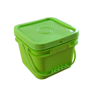 Food grade PP plastic green 8L plastic pail 2 gallon with lid and handle