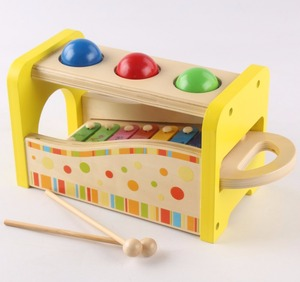 Multi-Funcation Wooden Pound & Tap Pounder Bench toy wooden pounding game hammer bench with xylophone