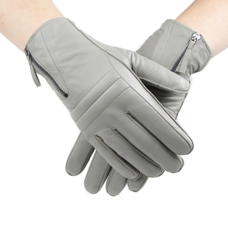 Men Zipper Grey Warm and Cool Leather Driving Gloves