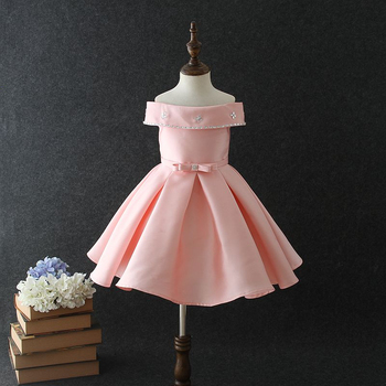 2018 Baby Girl Party Dress Children Frocks Designs Vietnam Kids Pink Bow Knot Princess Birthday