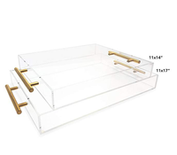 custom rectangle clear acrylic serving tray with gold metal handle for hotel restaurant