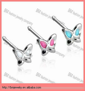Stainless Steel Nose Stud With 3mm Butterfly With Enamel Colored Wings  Piercing Jewelry - Buy Stainless Steel Nose Stud,Wings Piercing  Jewelry,Gold