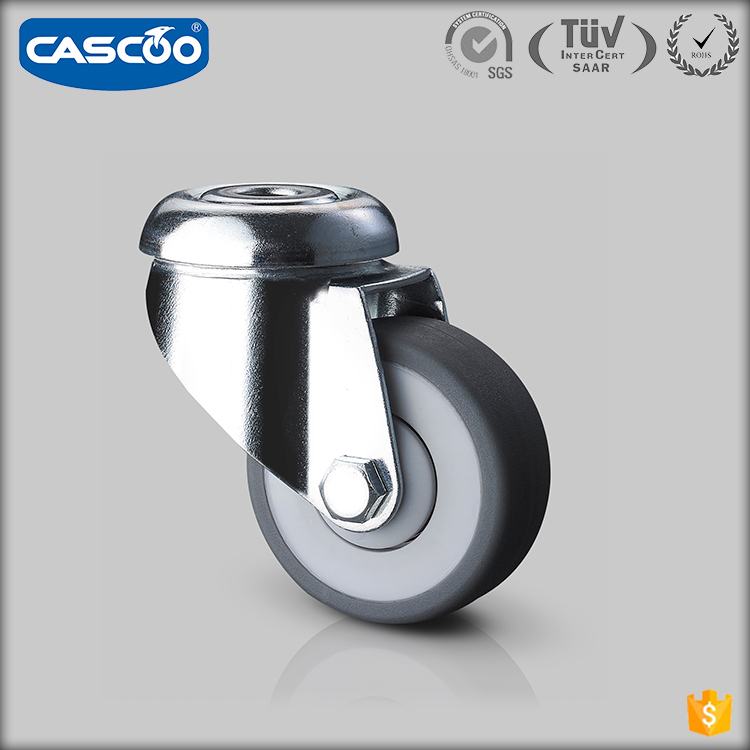 CASCOO 50mm castor small plastic rubber caster wheels with bearings for carts