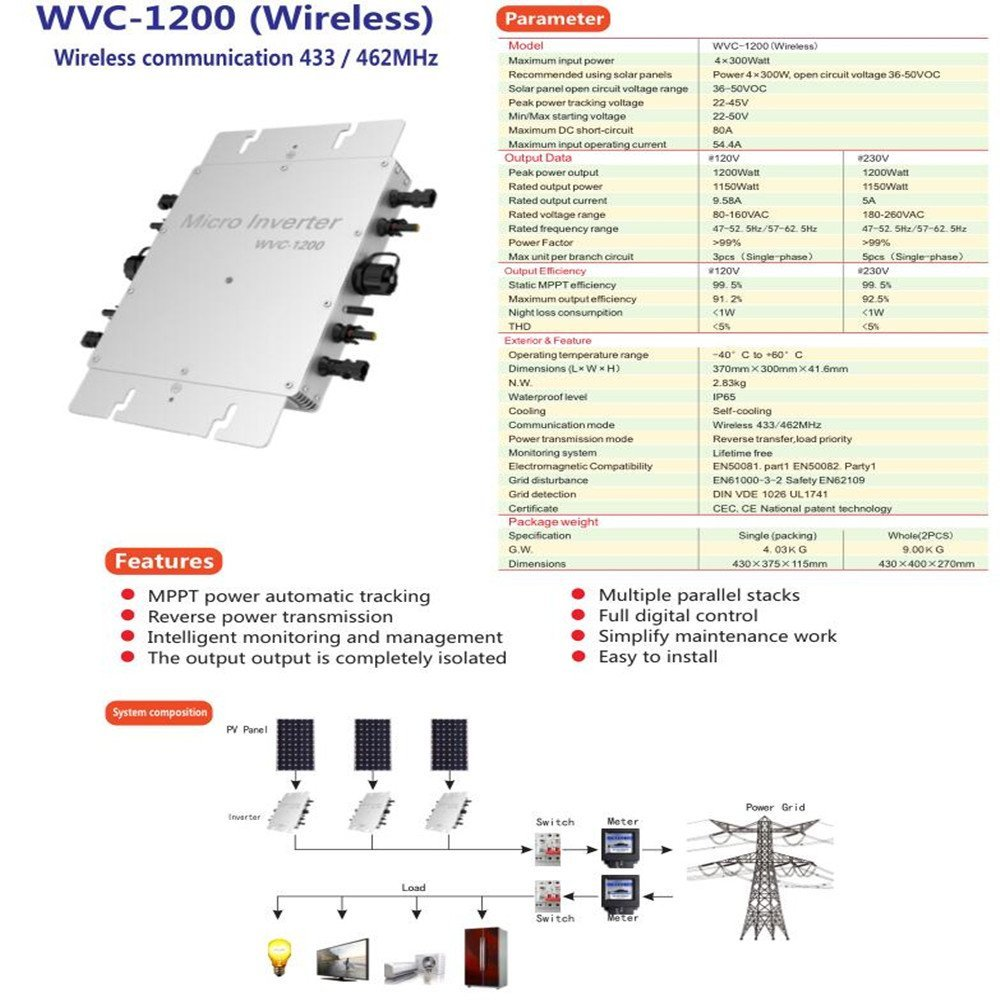 1200W 220V AC Household Grid Inverter Wireless Communication Power System Photovoltaic Inverter With Modem(The monitoring system)