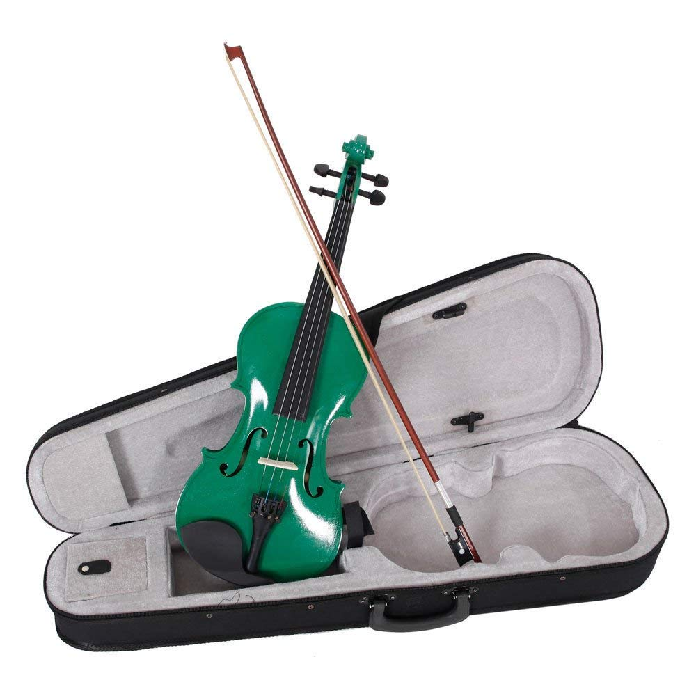 New 8 Colors 4/4 Full Size Basswood Acoustic Violin w/ Case Rosin Bow Bridge.Natural Color/Black/White/Dark Blue/Pink/Green/Red/Sky Blue (Green)