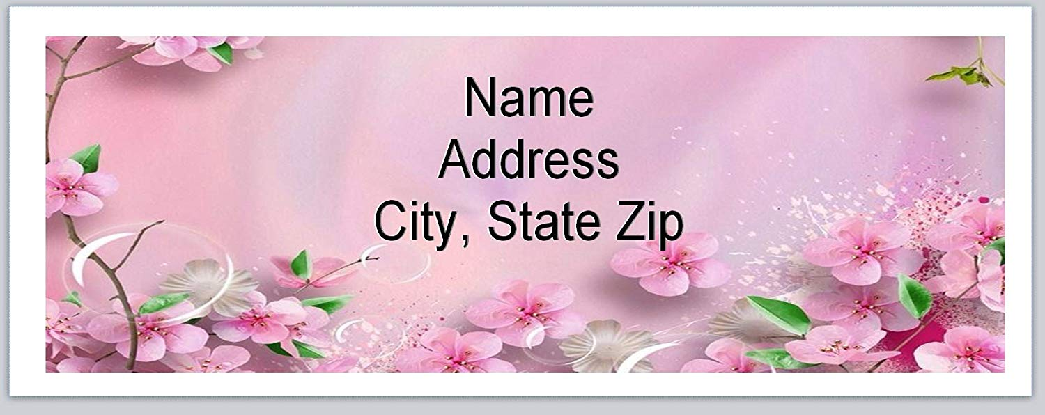 120 Personalized Return Address Labels Primitive Country Pink Flowers (BX 547)