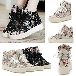 Anminlink Fashion Girls Floral Boots High Heels Platform Canvas Joker Shoes Black 36