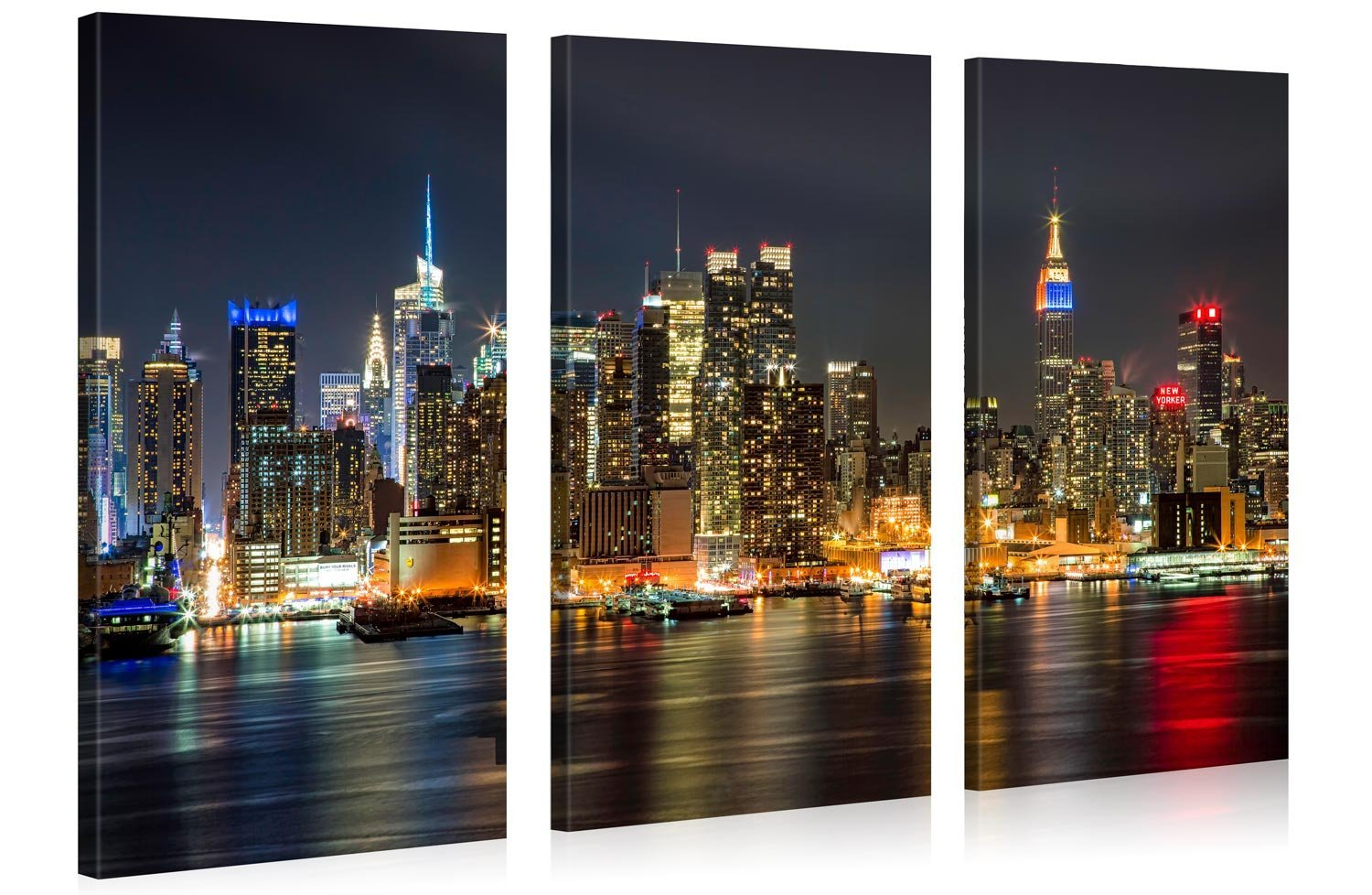 Large Canvas Print Wall Art – MANHATTAN NIGHT LIGHTS – 48x30 Inch – 3 panel New York Cityscape Canvas Picture Stretched On A Wooden Frame – Giclee Canvas Printing – Hanging Wall Deco Picture / e4350