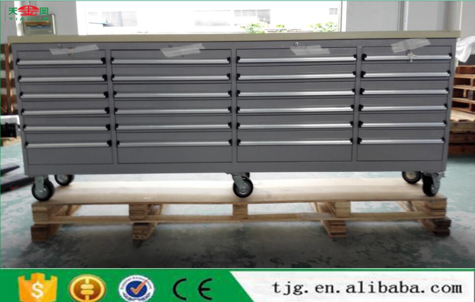 "TJG Tool Chest Wholesale Lower Price 96"" Cold Rolled Steel Tool Chest 24 Drawer Hot Sale"
