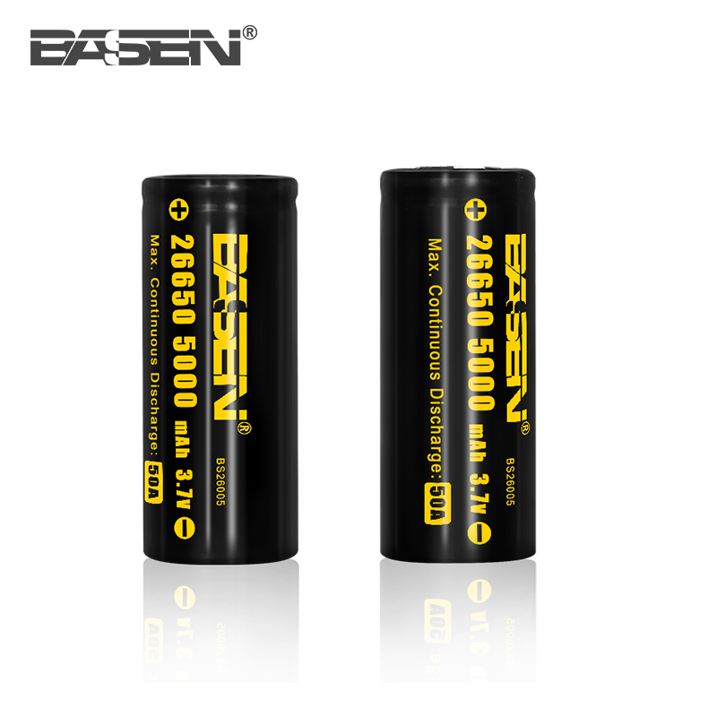 Black Basen 5000mah 26650 3.7v flat cell lithium ion 26650 battery(protected/unprotected)