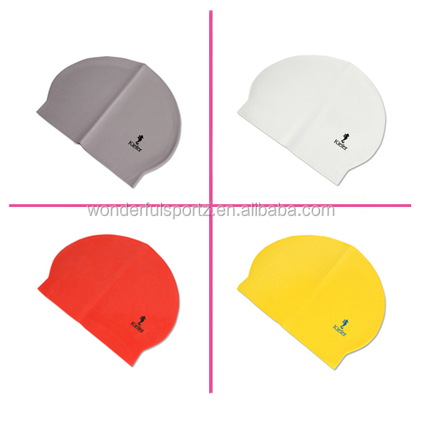 Durable Waterproof White Adult Silicone Stylish Swimming Caps