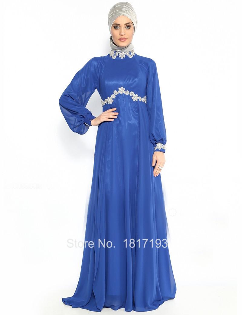 Dubai Kaften Dress Royal Blue Arabic Style Evening Robe De Soiree Muslim Hijab Long Sleeve In Price On