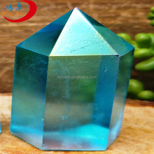Rock natural standing polished blue mineral speciman crystal point wand