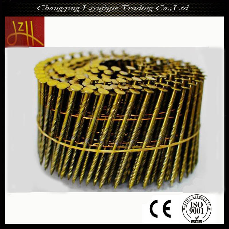 Golden Steel Flat Mesh Smooth Pallet Screw Coil Nails