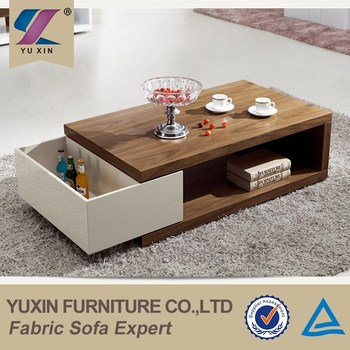 Living Room Furniture Tea Table Design,modern Wood And Glass Coffee Table  With Storage