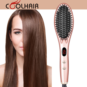 Amazon hot salon use ionic function electric hair straightner brush vendor