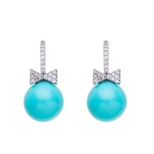 Cute big blue pearl drop pendant earrings jewelry stand for cute girls