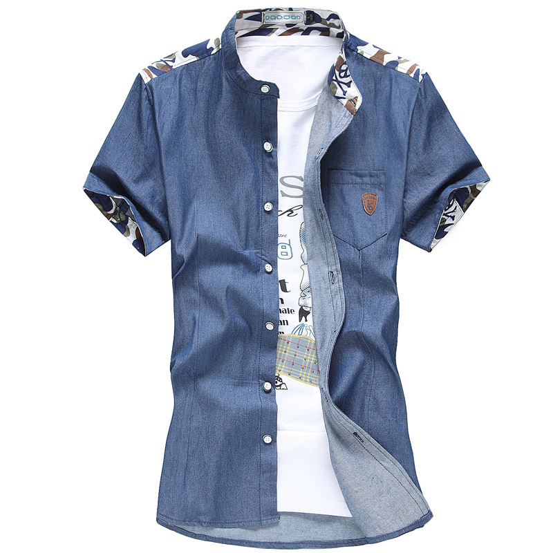 e7d9d8248a Buy Men Denim Wash Shirts Chest Patch Pocket Button Up Camouflage Stand  Collar Slim Mens Vintage Shirt Short Sleeved Casual Shirt in Cheap Price on  Alibaba. ...