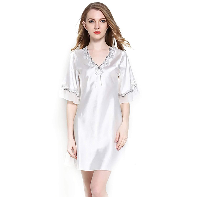 3c0a7612dc7b Get Quotations · Sattaj Sexy Women Satin Sleepwear Silk Nightgown Half  Sleeve Embroidery Nightdress Sexy Lingerie Plus Size